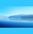 panorama winter dawn on a mountain lake with a vector image vector image