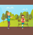 people spending time in park man sitting on bench vector image vector image
