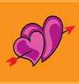 pink hearts and arrow on a yellow background vector image vector image