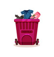 pink plastic container with textile waste dirty vector image