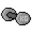 pixel 8 bit dumbbell - isolated vector image vector image