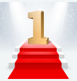 podium with number one and red carpet vector image
