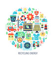 recycling green energy flat infographics icons in vector image vector image