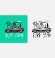 retro car emblem surfing sign summer surf vector image vector image