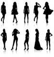set beautiful fashion girl silhouette on a white vector image vector image