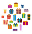 set of twenty multi colored gift boxes in a circle vector image