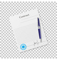 signing the contract on the isolated background vector image