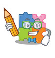 student puzzle character cartoon style vector image