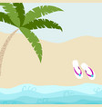 summer card design with flip flop and tropical vector image