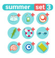 summer holiday icon set beach vacation concept