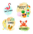 summer party fruit cocktails animal and bird vector image