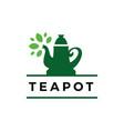 tea pot leaf time drink logo icon vector image