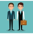 two businessman with portfolio and suit graphic vector image