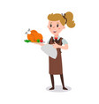 waiter woman wearing uniform holding a dish vector image vector image