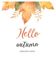 watercolor autumn sale banner of leaves and vector image vector image