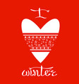 winter snow heart vector image vector image
