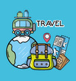 world backpack bus luggage tickets passport vector image