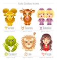 Zodiac astrological signs icon set Cute cartoon vector image