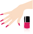 woman hand with red fingernails vector image
