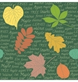 Seamless pattern with leaves on text background vector image