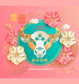 2021 chinese new year greeting card with flowers vector image