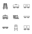 9 rail icons vector image vector image