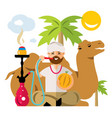 arabic man with hookah flat style colorful vector image vector image