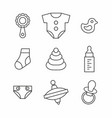 baby things icons set vector image vector image