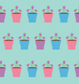 bellflower flower set in pot seamless pattern vector image
