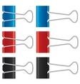 Binder clips set Paper clips collection vector image vector image