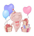 birthday card with a cute cartoon piggy and a box vector image vector image