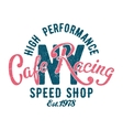 Cafe Racing speed shop typography vector image