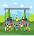 cartoon open air festival and landscape background vector image vector image