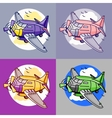 Cartoon set of airliner planes in different colors vector image vector image