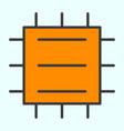central processor unit line icon cpu pictogram vector image vector image