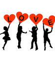 Children silhouettes with heart shaped banners vector image vector image