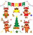 christmas and new year party 2020 set four vector image vector image
