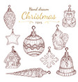 christmas toys set in hand drawn style vector image vector image