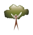 colorful tree trunk human with foliage shape cloud vector image
