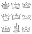 crown sketch various doodle set vector image vector image
