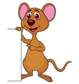 Cute mouse cartoon with blank sign vector image