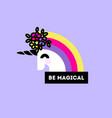 cute unicorn head with flower arrangement vector image vector image