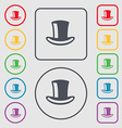 cylinder hat icon sign symbol on the Round and vector image vector image