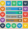 Diamond Icon sign Set of twenty colored flat round vector image vector image