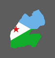 djibouti map and flag vector image vector image