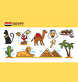 egypt travel destination poster with famous vector image vector image