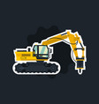 excavator with his hammer hydraulic crusher vector image vector image