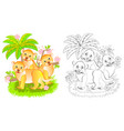 fantasy three cute little lions in jungle vector image