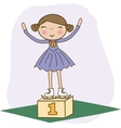 Figure skater 1st on the winner podium vector image