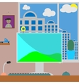 Flat workspace Room with home vector image